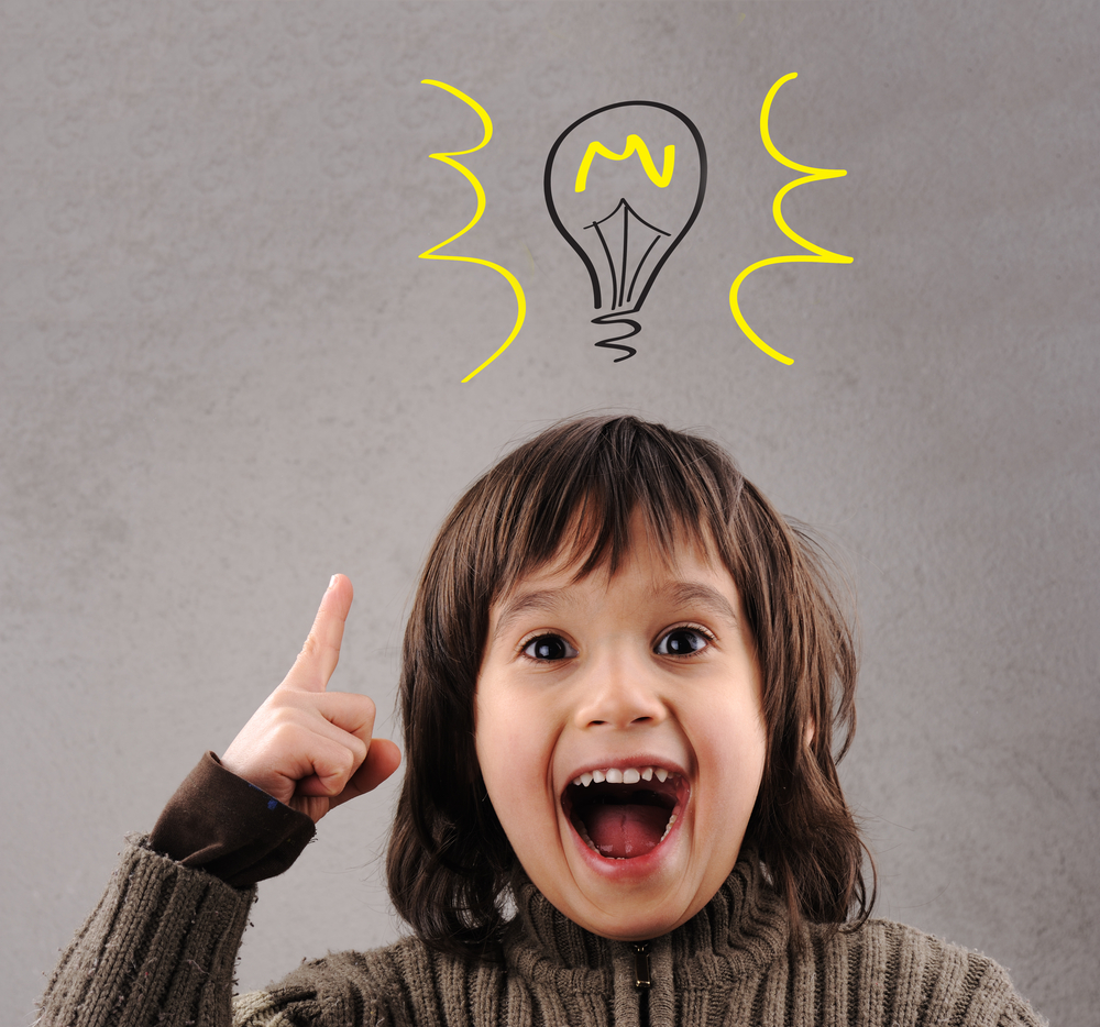 Excellent idea, kid with illustrated bulb above his head